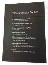 Cardinals, Girl Memes, and Disturbed: 7 Cardinal Rules For Life  1) Make peace with your past  so it won't disturb your present.  What other people think of you  is none of your business.  3) Time heals almost everything.  Give it time.  4) No one is in charge  of your happiness. Except you.  5) Don't compare your life to others  and don't judge them, you have no idea what  their journey is all about.  6) Stop thinking too much.  Its alright not to know the answers.  They wili come to you when you least expect it.  7) Smile.  You don't own all the problems in the world. THIS IS SO IMPORTANT