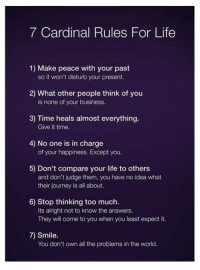 Journey, Life, and Memes: 7 Cardinal Rules For Life  1) Make peace with your past  so it won't disturb your present  2) What other people think of you  is none of your business.  3) Time heals almost everything.  Give it time.  4) No one is in charge  of your happiness. Except you.  5) Don't compare your life to others  and don't judge them, you have no idea what  their journey is all about.  6) Stop thinking too much.  its alright not to know the answers.  They will come to you when you least expect it.  7) Smile.  You don't own all the problems in the world.