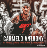 Carmelo Anthony is TOP 20 ...ALL-TIME! 👀: 7  CARMELO ANTHONY  HAS SURPASSED JERRY WEST FOR NO. 20 ON THE ALL-TIME SCORING LIST Carmelo Anthony is TOP 20 ...ALL-TIME! 👀
