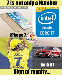 Iphone, Audi, and Intel: 7 is not only a Number  l a u g hin g colours .com  intel  inside  iPhone  1  CORE i7  Cements  Audi A7  DHONI  Sign of royalty... Power Of '7'