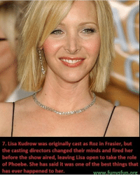 Roz: 7. Lisa Kudrow was originally cast as Roz in Frasier, but  the casting directors changed their minds and fired her  before the show aired, leaving Lisa open to take the role  of Phoebe. She has said it was one of the best things that  has ever happened to her.  www.funvsfun.org