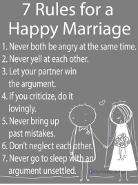 Happy Marriage: 7 Rules for a  Happy Marriage  1. Never both be angry at the same time.  2. Never yell at each other.  3. Let your partner win  the argument.  4.If you criticize, do it  lovingly  5. Never bring up  past mistakes.  6. Don't neglect each pther.  7. Never go to sleep  arqument unsettled.  OurHapp