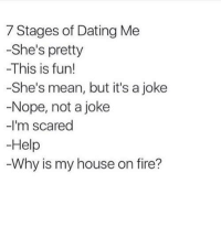 Dating, Fire, and Memes: 7 Stages of Dating Me  -She's pretty  -This is fun!  -She's mean, but it's a joke  -Nope, not a joke  -I'm scared  -Help  Why is my house on fire?