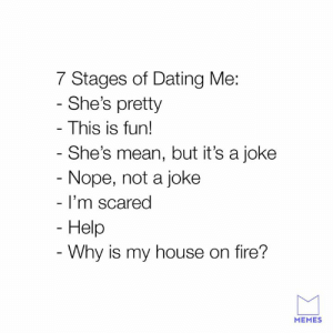 Get out the kitchen if you can't stand the heat.: 7 Stages of Dating Me:  She's pretty  This is fun!  She's mean, but it's a joke  Nope, not a joke  I'm scared  Help  Why is my house on fire?  MEMES Get out the kitchen if you can't stand the heat.