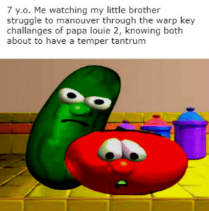 ever noticed how the main characters of v.t. are both fruits?: 7 y.o. Me watching my little brother  struggle to manouver through the warp key  challanges of papa louie 2, knowing both  about to have a temper tantrum ever noticed how the main characters of v.t. are both fruits?