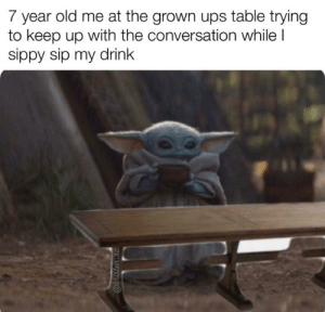 Childhood memories: 7 year old me at the grown ups table trying  to keep up with the conversation while I  sippy sip my drink  @kristen.rc Childhood memories