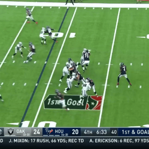 .@deshaunwatson was kicked in the eye... and still threw a TD dime. 🔥  (by @WilsonFootball) https://t.co/i5jED7YzNh: 70  90  1ST Godl  20 4TH 6:33 40 1ST & GOAL  HOU  24  $OAK  (3-3)  4-3)  A. ERICKSON: 6 REC, 97 YDS  J. MIXON: 17 RUSH, 66 YDS; REC TD  D .@deshaunwatson was kicked in the eye... and still threw a TD dime. 🔥  (by @WilsonFootball) https://t.co/i5jED7YzNh