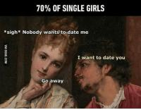 Memes, 🤖, and Sigh: 70% OF SINGLE GIRLS  *sigh* Nobody wants to date me  I want to date you  Go away Naiset?
