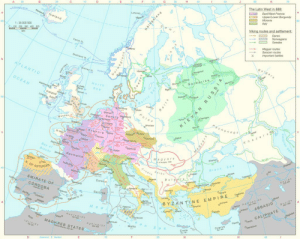 "Bailey Jay, Click, and Empire: 70  The Latin West in 888:  East/West Francia  Upper/Lower Burgundy  A  30  Lofoten  ロコ italy  Viking rou  →LM, Norwegians  celand  sam  tes and settlement:  Danes  Swedes  → Magyar routes  1:35 000 000  0100 200 300 400 500  Faroe is  Saracen routes  X Important battles  B u ig ar  ATLANTIC  ard avike  OCEAN  North  se a  reland  Polotsh  oes  essex  Cologne  cheneg s  oWroolaw  Rouen Francia  K h az a  Bay of  OSt. Gailen  agyars  Hangay,1000  Aquitaine  Black Sea  K. OF  ASTURIAS  EMIRATE OF  CORDOBA  ids  B u l  Corsica  Bari 41-  %""ea  d s  Sardinia  --  YZAN TINE EMPIRE  Balearic is  しーABBASID  Med  CALIPHATE  Rustamids  MAGHREB STATES  Aghlabids  Malta  e a  Crete  30  10  Menda  anwich land-of-maps:  Magyar, Saracen and Vikings invasions of Europe during the period of 793 AD to 1000 AD [2315 × 1843]CLICK HERE FOR MORE MAPS!"