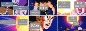 Basically my experience with bad memes (sorry for the weird format): 700  Hot  70  upvotes  votes  mene  New  Me,  meme  Downvote  30k  upvotes  5k  upvotes  Dovwnvote  Trending  mene  Me  PS Express Basically my experience with bad memes (sorry for the weird format)