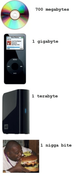 terabyte: 700 megabytes  Now Playing  1 gigabyte  Ast Feel Better  Santana  A That IAm  MENU  1 terabyte  1 nigga bite