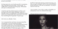 Kim Kardashian addressing slut shaming, body shaming, etc. This is so important.: Hey, guys. wanted to write a post elaborating on  my  tweets last n  n all seriousness, never  understand why people get so bothered by what  I don't do drugs, l hardly drink, live never committed  bad e model for being  a crime--and yet m a  proud of my body?  It always seems to come back around to my sex tape  Yes, a sex tape that was made 13 years ago. 13  terally that  lonnng ago. And people  YEARS AGO  still want to talk about it  212  l lived through the embarrassment and fear, and  decided to say who cares, do better, move on  shouldn't have to constantly be on the defense, listing  ott my accomplishments ust to prove that I am more  than something that happened 13 years ago.  Let's move on, already. have  I am empowered by my body. I am empowered by  my sexuality. am empowered by feeling  comfortable in my skin. am empowered by showing  the world my flaws and not being afraid of what  anyone is going to say about me. And hope that  through this platform l have been given, l can  encourage the same empowerment for girls and  men all over the world  WO  I am empowered by my husband, who is so  accepting and supportive and who has given me a  newfound confidence in myself. He allows me to be  me and loves me unconditionally Kim Kardashian addressing slut shaming, body shaming, etc. This is so important.