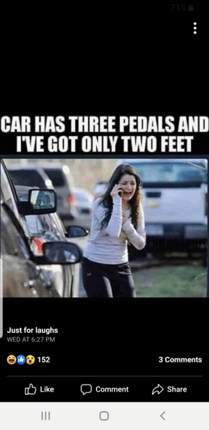 Saw, School, and Taken: 71%  CAR HAS THREE PEDALS AND  IVE GOT ONLY TWO FEET  Just for laughs  WED AT 6:27 PM  3 Comments  Share  Like  Comment Saw this on my fb feed. This is a photo taken during the Sandy Hook Elementary school shootings