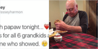 NEVER TAKE GRANDPARENTS FOR GRANTED 😔💔: kelsey  @kelsssey harmon  dinner with papaw tonight... he made  12 burgers for all 6 grandkids and I'm  the only one who showed  love him NEVER TAKE GRANDPARENTS FOR GRANTED 😔💔