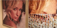 Paris Hilton has a giant portrait of herself in her house made up of tiny pics of her lmao: Paris Hilton has a giant portrait of herself in her house made up of tiny pics of her lmao