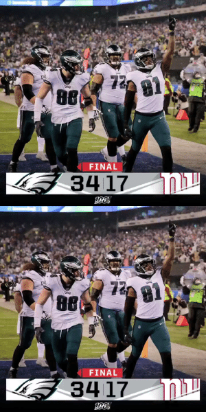 FINAL: The @Eagles are heading to the #NFLPlayoffs! #FlyEaglesFly #PHIvsNYG https://t.co/JYYuMx5Gu8: 72  81  FINAL  וא  34 17   Γ3  72  8ί  τε  FINAL  קוח  34 17 FINAL: The @Eagles are heading to the #NFLPlayoffs! #FlyEaglesFly #PHIvsNYG https://t.co/JYYuMx5Gu8