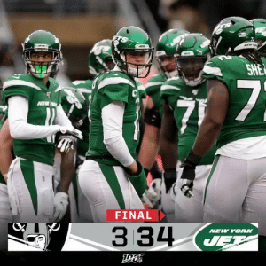 FINAL: All Jets. All day.  The @nyjets get the Week 12 win! #OAKvsNYJ https://t.co/o5ObOJvxzf: 72  NEW TO  SHE  7  FINAL  334  NEW YORK  JET FINAL: All Jets. All day.  The @nyjets get the Week 12 win! #OAKvsNYJ https://t.co/o5ObOJvxzf