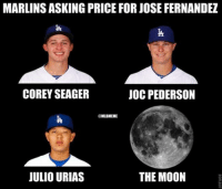 The ‪#‎Marlins‬ asking price for Jose Fernandez...: MARLINSASKING PRICE FOR JOSE FERNANDEZ  COREY SEAGER  JOC PEDERSON  @MLBMEME  THE MOON  JULIO URIAS The ‪#‎Marlins‬ asking price for Jose Fernandez...