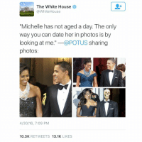 """President Obama shares his views on his wife Michelle Obama's ageless beauty: The White House  @White House  """"Michelle has not aged a day. The only  way you can date her in photos is by  looking at me  @POTUS  sharing  photos:  4/30/16, 7:09 PM  10.3K  RETWEETS  13.1K  LIKES President Obama shares his views on his wife Michelle Obama's ageless beauty"""