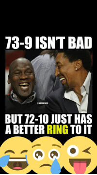 Laughing Mike: 73-9 ISN'T BAD  @NBAMEMES  BUT 12-10 JUST HAS  A BETTER  RING  TO IT  a Laughing Mike
