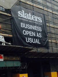 Ups, Wrestling, and World Wrestling Entertainment: MENSWEAR AND FORMAL HIRE  BUSINESS  OPEN AS  USUAL  Ch  etns  N  ETNOE  S Good of 1MB to put up a sign...