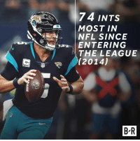 Blake Bortles has been benched for Cody Kessler 😯: 74 INTS  MOST IN  NFL SINCE  ENTERING  THE LEAGUE  (2014)  B-R Blake Bortles has been benched for Cody Kessler 😯