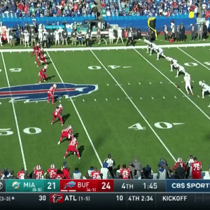 .@micah_hyde's 4th career touchdown came on an onside kickoff return! #GoBills  (by @WilsonFootball) https://t.co/8EAbdNAiRB: 75  55  24  MIA  21  BUF  CBS SPORT  1:45  4TH  (0-5)  14-11  ATL (1-5)  30  10 4TH 2:34  KICKOFF  3-3) .@micah_hyde's 4th career touchdown came on an onside kickoff return! #GoBills  (by @WilsonFootball) https://t.co/8EAbdNAiRB
