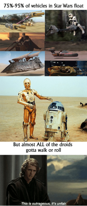 Mechanical classism at its finest: 75%-95% of vehicles in Star Wars float  But almost ALL of the droids  gotta walk or roll  This is outrageous, it's unfair Mechanical classism at its finest
