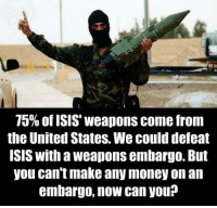 Isis, Memes, and Money: 75% of ISIS' weapons come from  the United States. We could defeat  ISIS with a weapons embargo. But  you can't make any money on an  embargo, now can you? #Profit #Money