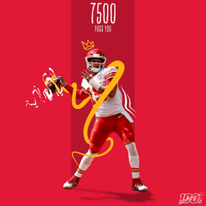 The fastest player ever to reach 7,500 career passing yards?  @PatrickMahomes! (24 games) #ChiefsKingdom https://t.co/VIrct55zFK: 7500  PASS YDS  1961  NFL The fastest player ever to reach 7,500 career passing yards?  @PatrickMahomes! (24 games) #ChiefsKingdom https://t.co/VIrct55zFK
