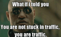 He's right, you know. Car memes: What ifitold you  You are not stuck in traffic,  you are traffic. He's right, you know. Car memes