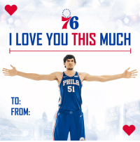 RT @sixers: Just imagine a hug from @BobanMarjanovic   #HereTheyCome | #ValentinesDay https://t.co/yK94k0Qvvp: 76  I LOVE YOU THIS MUCH  PHILA  51  TO  FROM  PIONS RT @sixers: Just imagine a hug from @BobanMarjanovic   #HereTheyCome | #ValentinesDay https://t.co/yK94k0Qvvp