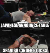 To quote PROGRESS Wrestling: Table stays strong. Cinder blocks explode like Tony Montana slamming his face into a mound of cocaine. Wrestling.: AmbrosevsRollins  FACEBOOK COMV  WRESTLINGMEMES  JAPANESEANNOUNCETABLE  AmbrosevsRollins  SPANISH CINDER BLOCKS To quote PROGRESS Wrestling: Table stays strong. Cinder blocks explode like Tony Montana slamming his face into a mound of cocaine. Wrestling.