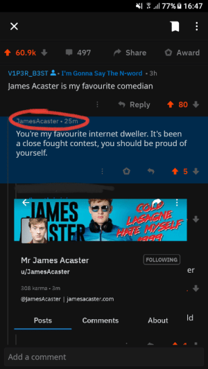 Internet, Karma, and Word: 77% 16:47  X  Award  60.9k  Share  497  I'm Gonna Say The N-word  3h  V1P3R_B3ST  .  James Acaster is my favourite comedian  Reply  80  JamesAcaster 25m  You're my favourite internet dweller. It's been  a close fought contest, you should be proud of  yourself.  t 5  JAMES  STER  LASACNE  HEE MYSELF  Mr James Acaster  FOLLOWING  er  u/JamesAcaster  308 karma 3m  @JamesAcaster | jamesacaster.com  Id  About  Posts  Comments  Add a comment  .. My idol recognized me and it looks legit to me, don't remove this please mods