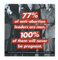 Anaconda, Pregnant, and Abortion: 77%  of anti-abortion  leaders are men.  100%  of them will never  be pregnant.  It's your body. It's your decision. The Pro-Choice Public Education Project. Its pro-choice or no choice. <h2>El 23% de las mujeres restantes son mujeres-esclavas del Señor y de su hombre</h2>