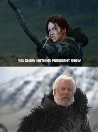 Game of Thrones Memes: YOU KNOW NOTHING PRESIDENT SNOW Game of Thrones Memes