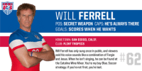 Time for Merica's secret weapon.: WILL FERRELL  POS: SECRETWEAPON CAPS: HESALWAYS THERE  GOALS: SCORES WHEN HE WANTS  HOMETOWN: SAN DIEGO, CALIF  CLUB: FLINT TROPICS  Will Ferrell has only sung once in public, and viewers  #62  said his voice sounds like a combination of Fergie  and Jesus. When he isn't singing, he can be found at  the Catalina Wine Mixer. You're my boy Blue. Soccer  strategy: if you're not first, you're last. Time for Merica's secret weapon.