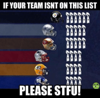 IF YOUR TEAM ISNTON THIS LIST  PLEASE STFU! Like NFL Memes!