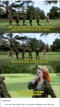 Funny, Girls, and Tumblr: We're the Spice Girls, yes, indeed  Just Girl Power is all we need  Pick it up!  We know how we got this far  Strength and courage  and a Wonderbra  karieefomia:  If you don't think Spice World is a cinematic masterpiece don't talk to me ‪#‎theworstoftumblr‬