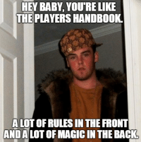 Baby, It's Cold Outside, Work, and Time: HEY BABY, YOUTRELIKE  THE PLAYERS HANDBOOK  A LOT OF RULES IN THE FRONT  ANDALOTOFMAGIC IN THE BACK #DNDJOKEOFTHEDAY 60% of the time...it works every time.