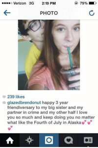 What does this even mean: 79% LD  O Verizon 3G 2:19 PM  PHOTO  239 likes  a glazedbrendonut happy 3 year  friendiversary to my big sister and my  partner in Crime and my other half l love  you so much and keep doing you no matter  what like the Fourth of July in Alaska What does this even mean