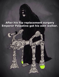 Thanks Palpatine!!: After his hip replacement surgery  Emperor Palpatine got his own walker. Thanks Palpatine!!