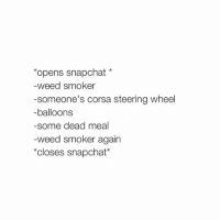 accurate: opens snapchat  weed smoker  someone's corsa steering wheel  -balloons  some dead meal  weed smoker again  *closes snapchat accurate
