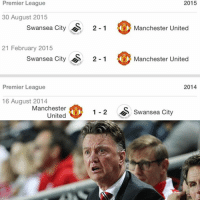 Premier League upsets continue as United fall to Swansea 2-1. Swansea have now defeated United 3 consecutive times. EPL: Premier League  2015  30 August 2015  Swansea City  S 2-1  Manchester United  21 February 2015  Swansea City  S 2-1  Manchester United  2014  Premier League  16 August 2014  Manchester  1 2 S Swansea City  United Premier League upsets continue as United fall to Swansea 2-1. Swansea have now defeated United 3 consecutive times. EPL