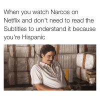 Me after two spanish classes: When  you watch Narcos on  Netflix and don't need to read the  Subtitles to understand it because  you're Hispanic Me after two spanish classes