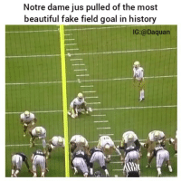 Damn fooled me: Notre dame jus pulled of the most  beautiful fake field goal in history  IG:@Daquan Damn fooled me