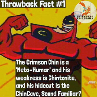 Thought this was funny 😂 fact creds to: @superhero_facts_daily: Throwback Fact #1  SUPERHERO  FACCS DAILY  The Crimson Chin is a  Meta-Human' and his  weakness is Chintonite,  and his hideout is the  ChinCave, Sound Familiar? Thought this was funny 😂 fact creds to: @superhero_facts_daily