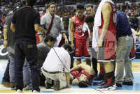 "#PrayforGregSlaughter ""He'll be undergoing MRI test right now. Hopefully, wala naman sanang major injury,"" said Ginebra deputy coach Olsen Racela. ""Coming off an injury I wasn't going to risk him anymore,"" said the league's most accomplished coach, who declared prior to the game that he'll use the 28-year-old big man only for 'a limited minutes.' Good thing, Slaughter was able to get up and walk on his own after being down on the court for a couple of minutes.   ""At first he felt some pain when it happened apparently and I haven't had the chance to talk to him since. But when we huddled around him, he said the pain is dissipating,"" related Cone. ""If it was a serious injury like ACL, the pain continues to be there. Dissipating, he was able to get up and walk. We'll see if that turns into a setback or not."" Read more at http://www.spin.ph/basketball/pba/news/greg-slaughters-undergoes-mri-after-ginebra-win-over-mahindra-to-check-hurting-right-knee-#cygcWzC4dWLbBt5T.99: -8ー #PrayforGregSlaughter ""He'll be undergoing MRI test right now. Hopefully, wala naman sanang major injury,"" said Ginebra deputy coach Olsen Racela. ""Coming off an injury I wasn't going to risk him anymore,"" said the league's most accomplished coach, who declared prior to the game that he'll use the 28-year-old big man only for 'a limited minutes.' Good thing, Slaughter was able to get up and walk on his own after being down on the court for a couple of minutes.   ""At first he felt some pain when it happened apparently and I haven't had the chance to talk to him since. But when we huddled around him, he said the pain is dissipating,"" related Cone. ""If it was a serious injury like ACL, the pain continues to be there. Dissipating, he was able to get up and walk. We'll see if that turns into a setback or not."" Read more at http://www.spin.ph/basketball/pba/news/greg-slaughters-undergoes-mri-after-ginebra-win-over-mahindra-to-check-hurting-right-knee-#cygcWzC4dWLbBt5T.99"