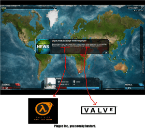 Plague Inc. On Half-Life 3 by recyclebin - Meme Center: 8-10-2014 X  NEWS  IID  VALVE TIME SLOWER THAN THOUGHT  Researchers have calculated that it takes longer than expected for radioactive  fluids with a half-life of 3 years to pass through valves. Reason unknown.  NEWS  OK  World  NFECTED  DEAD  DISEASE  1 305,414,513  WORLD  52  0%  3  100  VALVE  HALF-LIFE  source,  NA  ALY  Plague Inc., you sneaky bastard.  MemeCenter.com Plague Inc. On Half-Life 3 by recyclebin - Meme Center