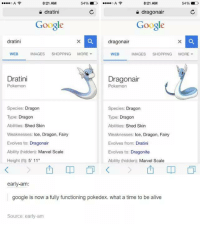 """Googłe: 8:21 AM  8:21 AM  54%  54%  c  dratini  a dragonair  Google  Google  dratini  dragon air  IMAGES  SHOPPING  MORE  v  WEB  WEB  IMAGES  SHOPPING  MORE  Dratini  Dragonair  Pokemon  Pokemon  Species  Dragon  Species  Dragon  Type: Dragon  Type: Dragon  Abilities:  Shed Skin  Abilities: Shed Skin  Weaknesses: Ice, Dragon, Fairy  Weaknesses:  ce, Dragon, Fairy  Evolves to  Dragonair  Evolves from: Dratini  Ability (hidden)  Marvel Scale  Evolves to: Dragonite  Height (ft): 5' 11""""  Ability (hidden  Marvel Scale  early-am  google is now a fully functioning pokedex. what a time to be alive  Source: early am"""